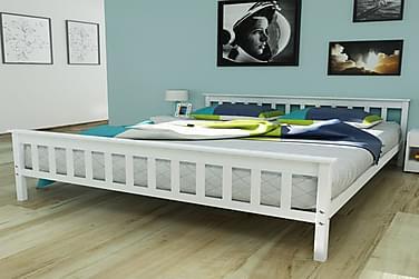 Sängynrunko täysi mänty valkoinen 160x200 cm