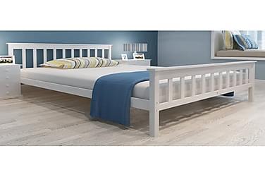 Sängynrunko valkoinen täysi mänty 140x200 cm