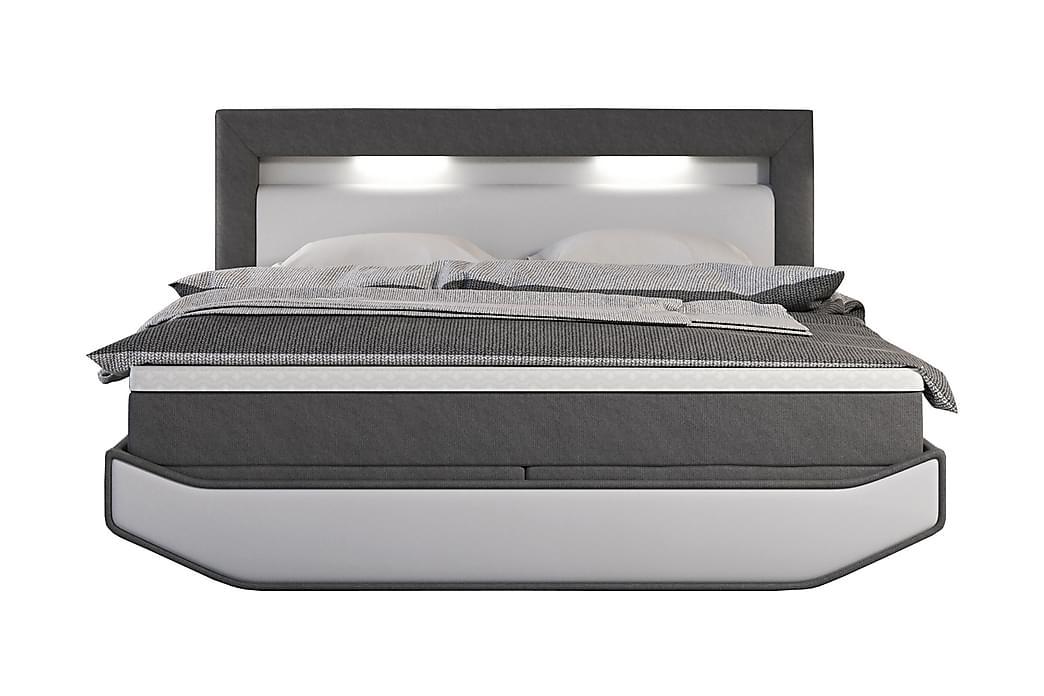 Jenkkisänky 180x200 cm Valkoinen/Harmaa LED - Huonekalut - Sängyt - Runkopatjasängyt