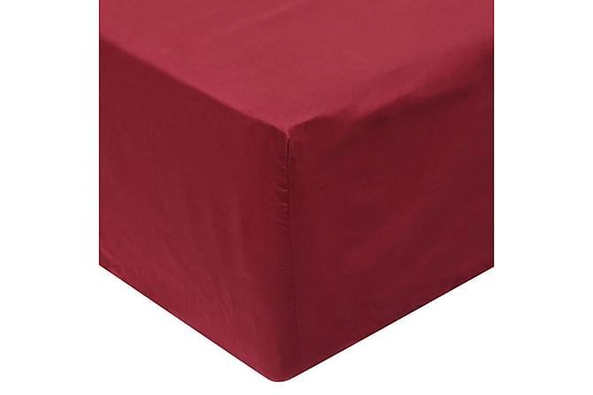 Muotoonommeltu lakana 2 kpl 160x200cm Puuvilla Viinin - Punainen - Huonekalut - Sängyt - Sängyn lisävarusteet