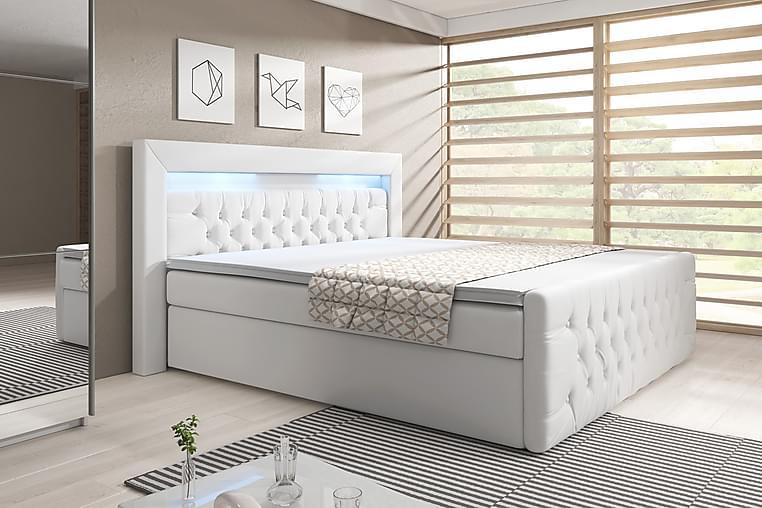 Sänkypaketti Celio 140x200 Nosto - Valkoinen/Keinonahka - Huonekalut - Sängyt - Sängyt säilytystilalla