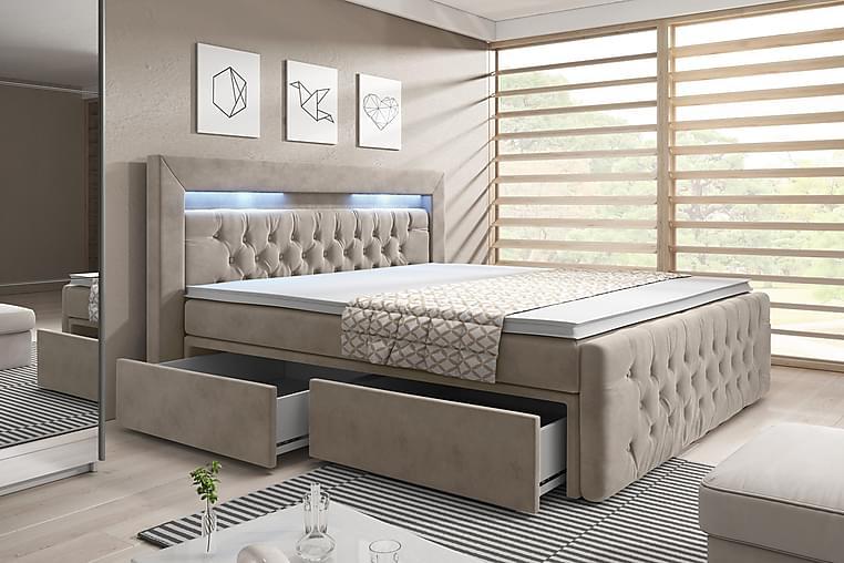 Sänkypaketti Celio 160x200 Laatikko - Beige/Sametti - Huonekalut - Sängyt - Sängyt säilytystilalla