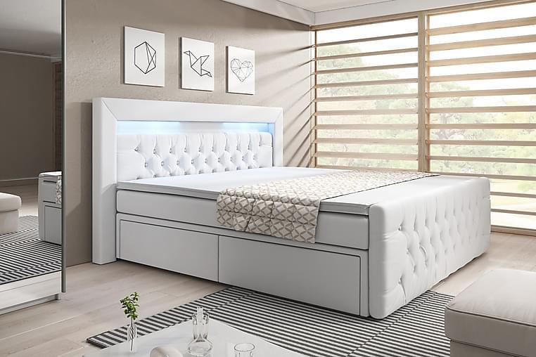 Sänkypaketti Celio 160x200 Laatikko - Valkoinen/Keinonahka - Huonekalut - Sängyt - Sängyt säilytystilalla