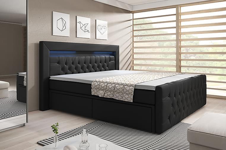 Sänkypaketti Celio 180x200 Laatikko - Musta/Keinonahka - Huonekalut - Sängyt - Sängyt säilytystilalla