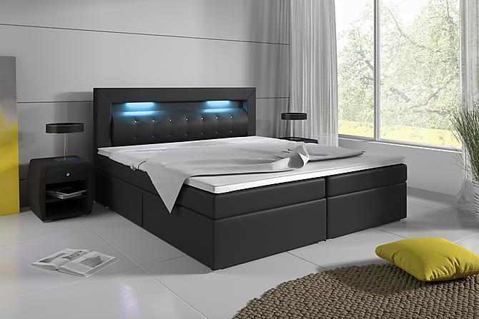 Sänkypaketti Pisa 180x200 säilytyksellä Pikeerattu Pääty - Musta - Huonekalut - Sängyt - Sänkypaketti