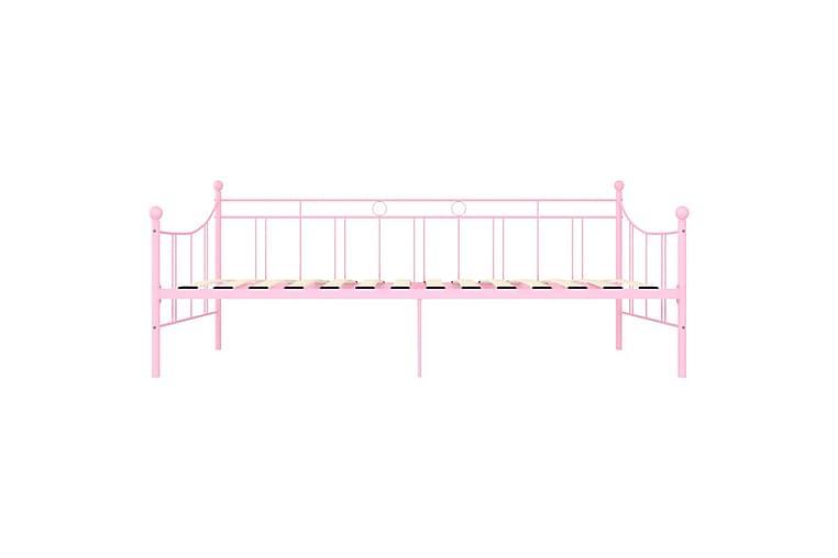 Päivävuoteenrunko pinkki metalli 90x200 cm - Huonekalut - Sängyt - Sänkykehikot & sängynrungot