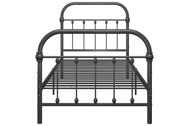 Sängynrunko harmaa metalli 100x200 cm - Huonekalut - Sängyt - Sänkykehikot & sängynrungot