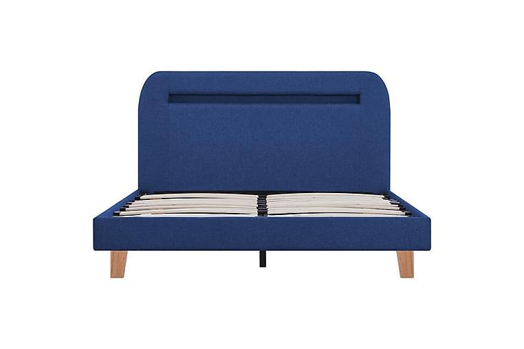 Sängynrunko LED-valolla sininen kangas 120x190 cm - Sininen - Huonekalut - Sängyt - Sänkykehikot & sängynrungot