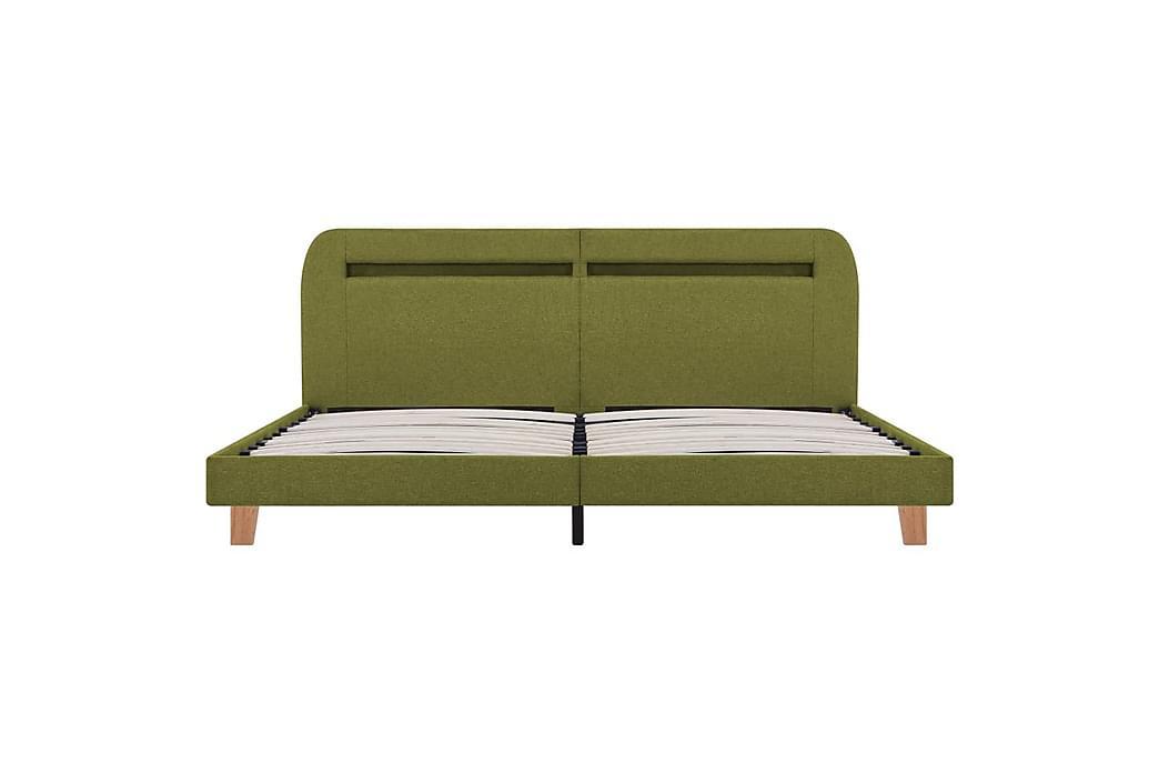 Sängynrunko LED-valolla vihreä kangas 180x200 cm - Vihreä - Huonekalut - Sängyt - Sänkykehikot & sängynrungot