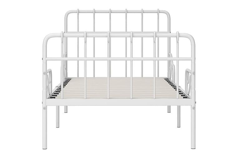 Sängynrunko sälepohjalla valkoinen metalli 100x200 cm - Huonekalut - Sängyt - Sänkykehikot & sängynrungot