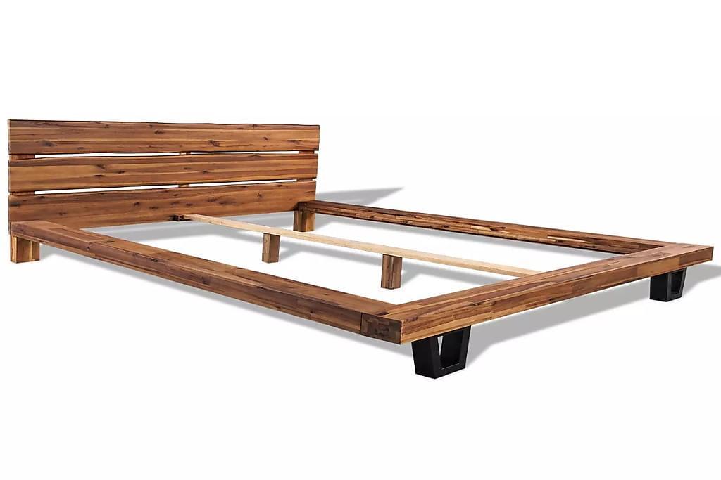 Sängynrunko Täysi Akaasia Puu 140x200 cm - Ruskea - Huonekalut - Sängyt - Sänkykehikot & sängynrungot