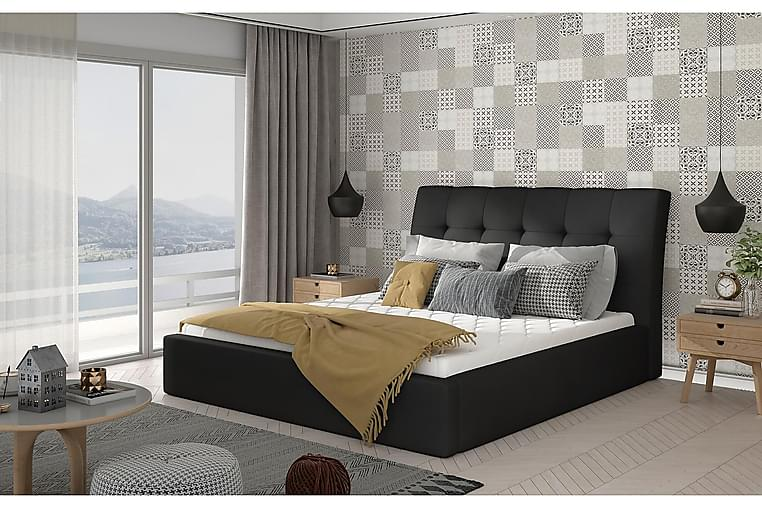 Sängynrunko Tregnago 180x200 cm - Nahka/Musta - Huonekalut - Sängyt - Sänkykehikot & sängynrungot