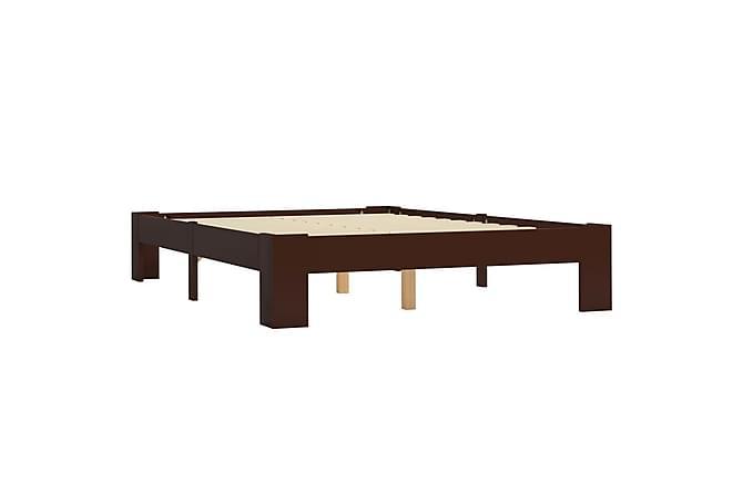 Sängynrunko tummanruskea täysi mänty 120x200 cm - Ruskea - Huonekalut - Sängyt - Sänkykehikot & sängynrungot