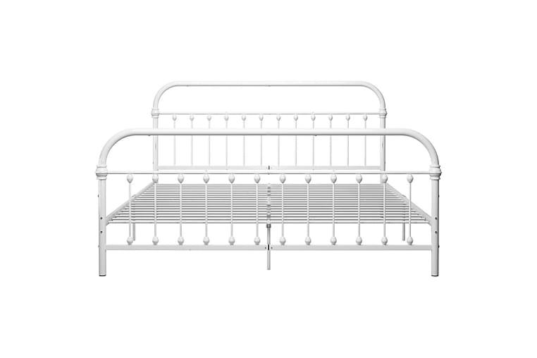 Sängynrunko valkoinen metalli 180x200 cm - Huonekalut - Sängyt - Sänkykehikot & sängynrungot