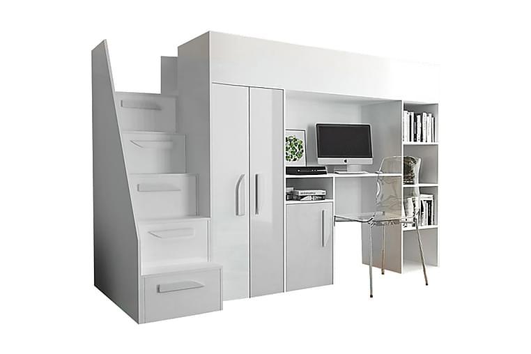 Sänky Party 120x247 cm - Valkoinen/Korkeakiilto - Huonekalut - Sängyt - Sänkykehikot & sängynrungot