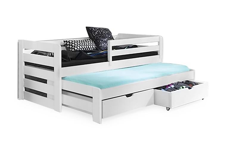 Sänky Tilja 90x200 Lisäsängyllä ja säilytyksellä - Valkoinen - Huonekalut - Sängyt - Sänkykehikot & sängynrungot