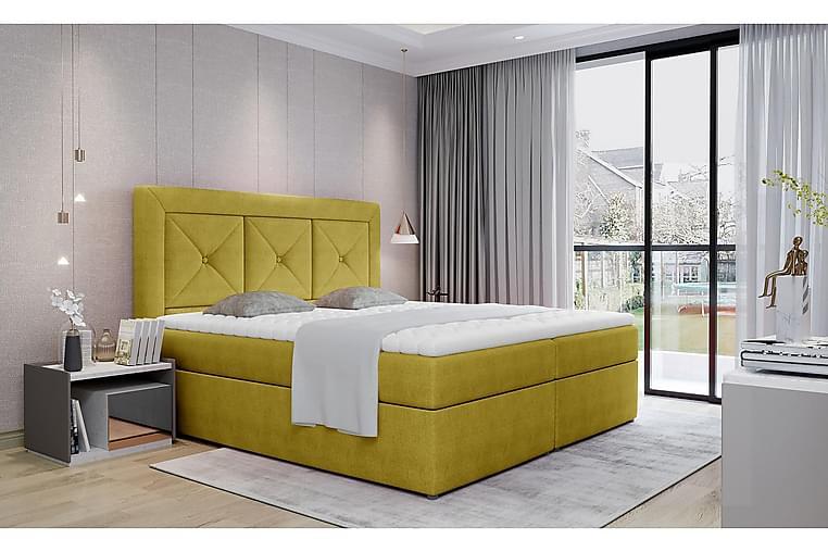 Sänkypaketti Cataloba 180x200 cm - Keltainen - Huonekalut - Sängyt - Sänkypaketti