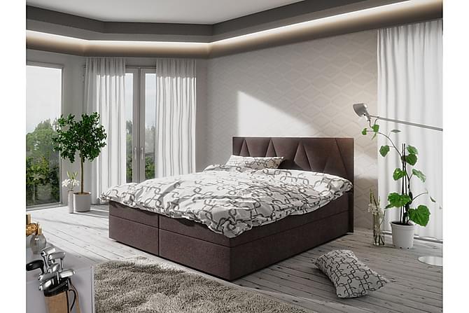 Sänkypaketti Fado 140x200 Kuvioitu Pääty - Ruskea - Huonekalut - Sängyt - Sänkypaketti