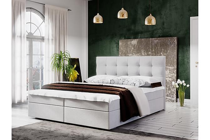 Sänkypaketti Fado 140x200 Ruutukuvio Pääty - Valkoinen - Huonekalut - Sängyt - Sänkypaketti