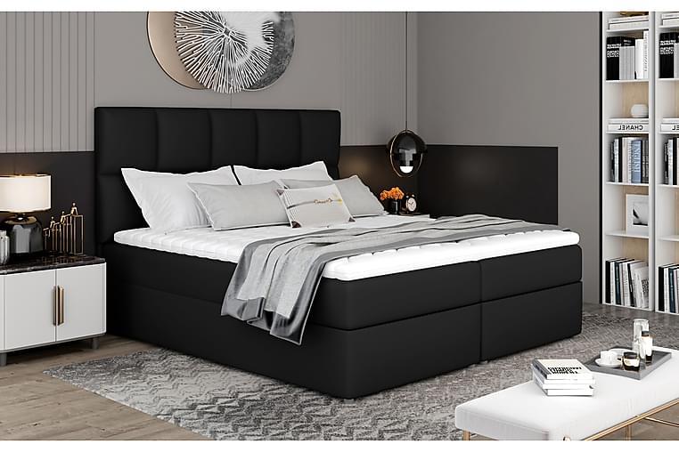 Sänkypaketti Loutraki 140x200 cm - Nahka/Musta - Huonekalut - Sängyt - Sänkypaketti