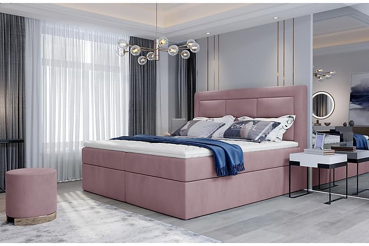 Sänkypaketti Montalon 140x200 cm - Vaaleanpunainen - Huonekalut - Sängyt - Sänkypaketti