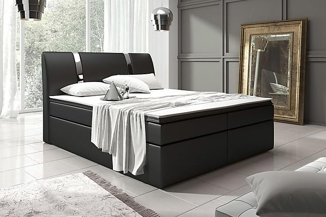 Sänkypaketti Pisa 160x200 säilytyksellä Sileä Pääty - Musta - Huonekalut - Sängyt - Sänkypaketti