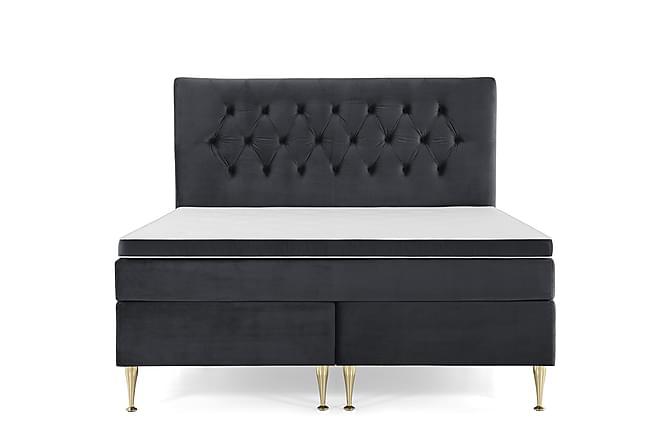 Sänkypaketti Torsö 160x200 - Musta Sametti/Korkea Kulta - Huonekalut - Sängyt - Sänkypaketti