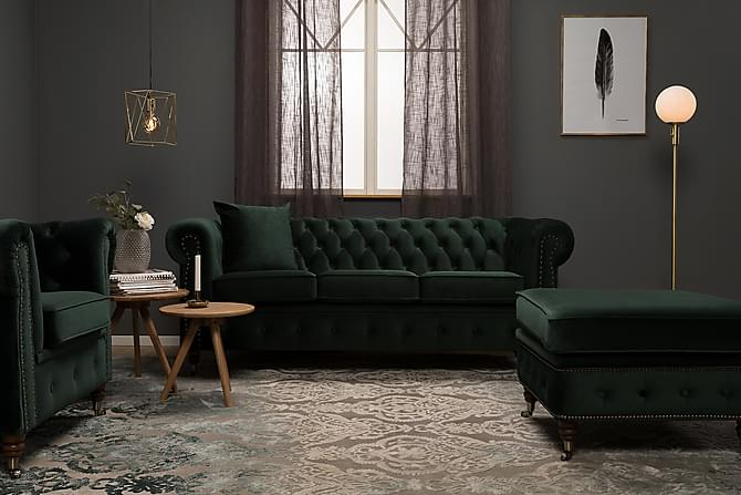 Samettisohva Chester Deluxe 3:n ist - Tummanvihreä - Huonekalut - Sohvat - 2-4 hengen sohvat