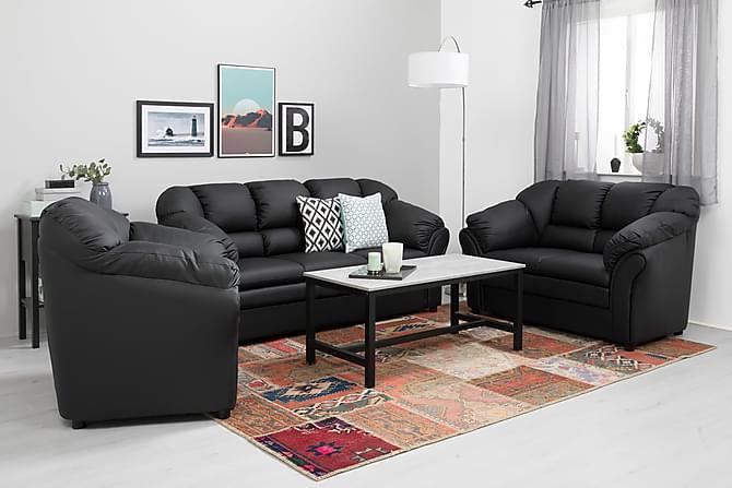 Sohva Salvador 3:n ist Keinonahka - Musta - Huonekalut - Sohvat - 2-4 hengen sohvat