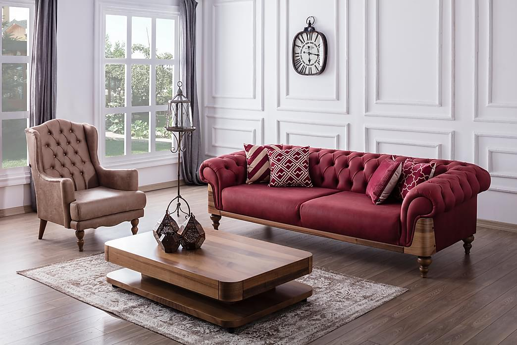 2:n ist Chesterfield-sohva Amital - Punainen/puujalat - Huonekalut - Sohvat - Howard-sohvat