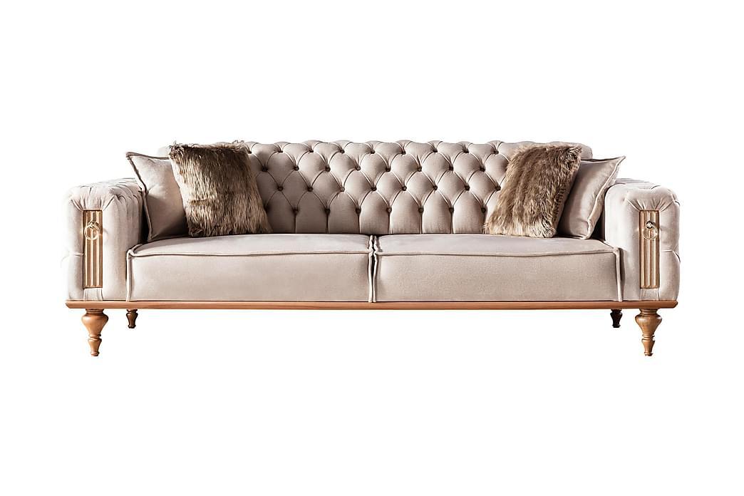 2:n ist Chesterfield-sohva Bomonti - Beige/Puujalat - Huonekalut - Sohvat - Howard-sohvat