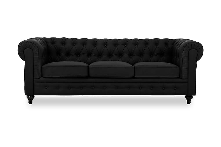 Sohva Walton Lyx 3:n ist Keinonahka - Musta - Huonekalut - Sohvat - Howard-sohvat