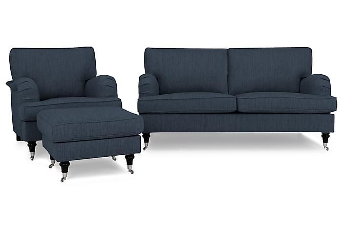 Sohvaryhmä Oxford Classic 3:n ist+Nojatuoli+Jalkarahi - Tummansininen - Huonekalut - Sohvat - Howard-sohvat
