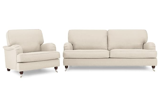 Sohvaryhmä Oxford Lyx 3:n ist Nojatuoli ja rahi - Beige - Huonekalut - Sohvat - Howard-sohvat