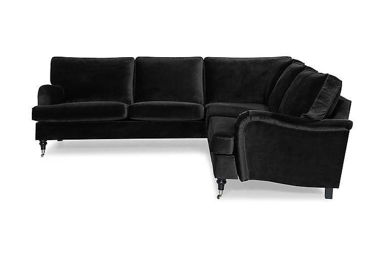Kulmasohva Oxford Classic Sametti - Musta - Huonekalut - Sohvat - Howard-sohvat