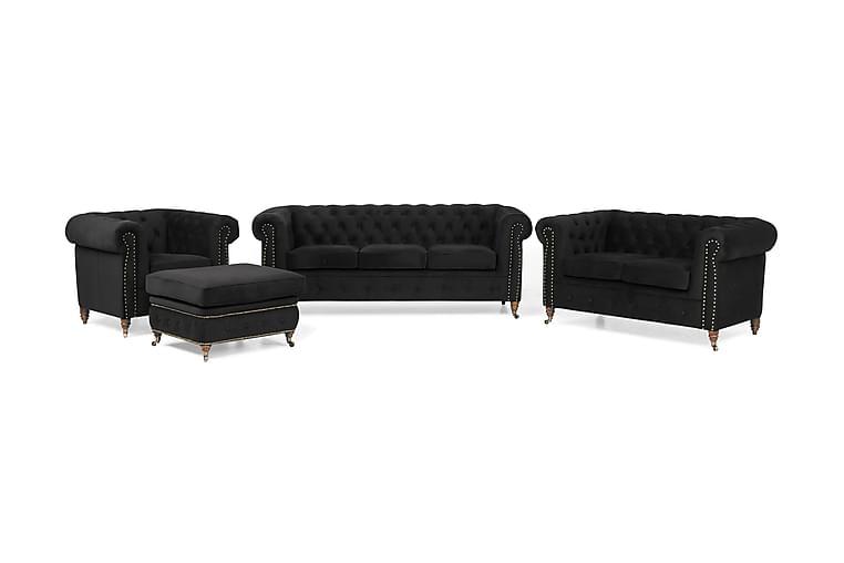 Sohvaryhmä Chester Deluxe 3+2+Nojatuoli+Jalkarahi Sametti - Musta - Huonekalut - Sohvat - Sohvaryhmät