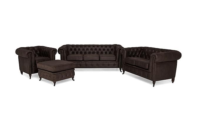 Sohvaryhmä Chester Deluxe 3:n ist+2:n ist+Tuoli+Jalkarahi - Tummanruskea - Huonekalut - Sohvat - Sohvaryhmät