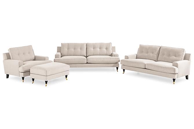 Sohvaryhmä Covington 2:n ist + 3:n ist + tuoli + jalkarahi - Beige - Huonekalut - Sohvat - Sohvaryhmät