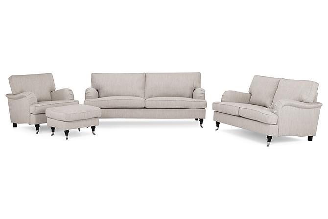 Sohvaryhmä Oxford Classic 2:n ist+Tuoli+Jalkarahi - Beige - Huonekalut - Sohvat - Howard-sohvat
