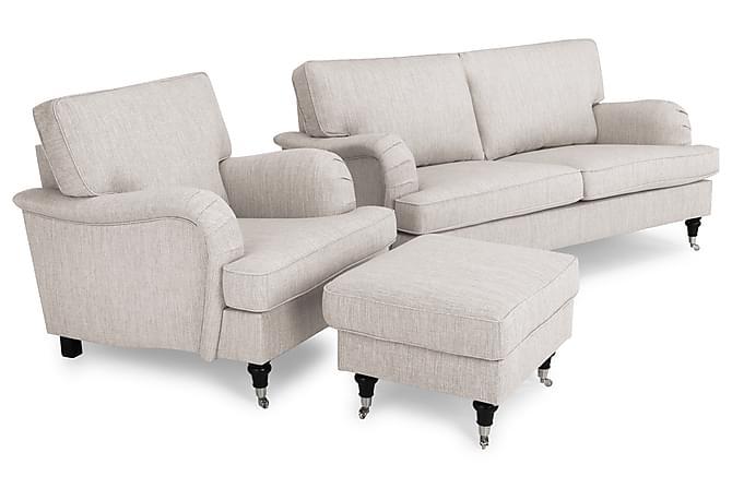 Sohvaryhmä Oxford Classic 3:n ist+Nojatuoli+Jalkarahi - Beige - Huonekalut - Sohvat - Howard-sohvat