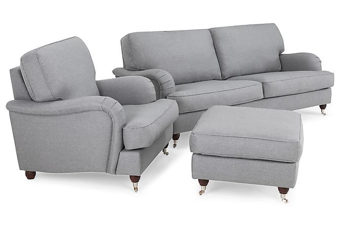 Sohvaryhmä Oxford Lyx 3:n ist Nojatuolilla - Vaaleanharmaa - Huonekalut - Sohvat - Howard-sohvat