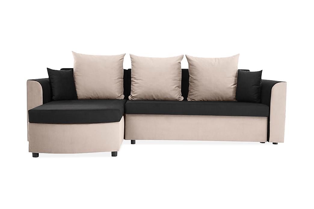 Divaanivuodesohva Smart 246x160x77 cm - Beige/Musta - Huonekalut - Sohvat - Vuodesohvat
