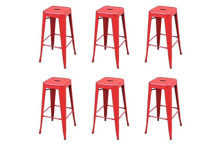 Baarijakkarat 6 kpl punainen teräs - Huonekalut - Tuolit - Baarituolit