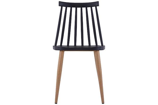 Ruokapöydän tuolit 4 kpl musta muovi - Musta - Huonekalut - Tuolit - Ruokatuolit