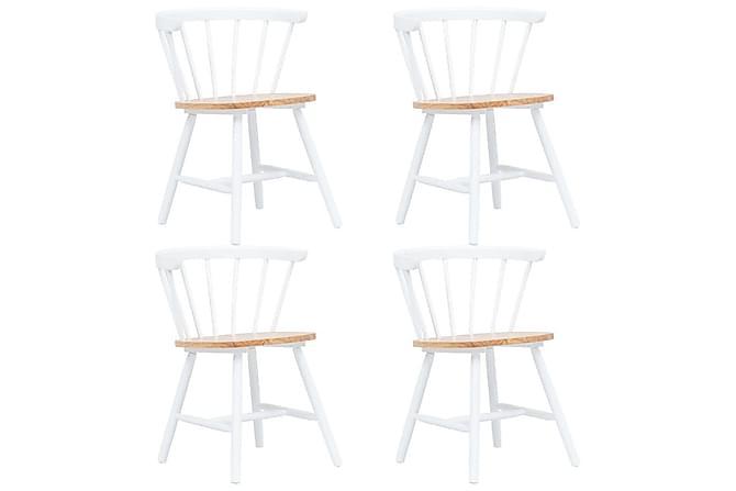 Ruokatuolit 4 kpl valkoinen ja ruskea täysi kumipuu - Valkoinen - Huonekalut - Tuolit - Ruokatuolit