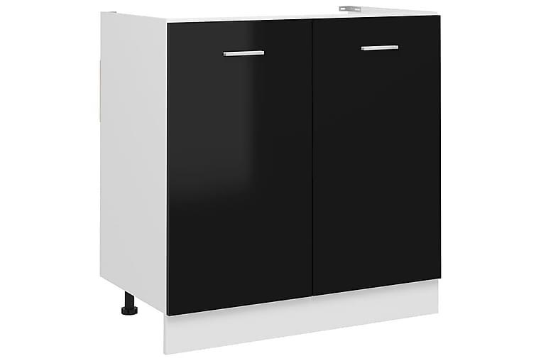Allaskaappi korkeakiilto musta 80x46x81,5 cm lastulevy - Musta - Kylpyhuone - Kylpyhuonekalusteet - Allaskaapit
