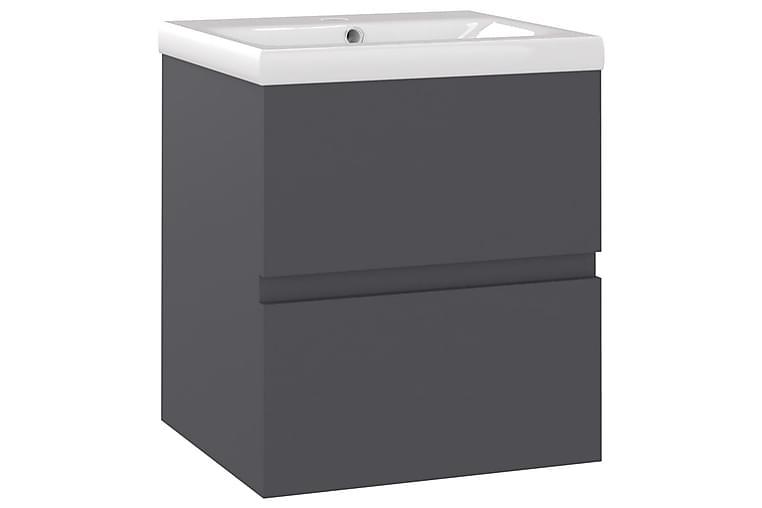 Allaskaappi sisäänrakennetulla altaalla harmaa lastulevy - Kylpyhuone - Kylpyhuonekalusteet - Allaskaapit
