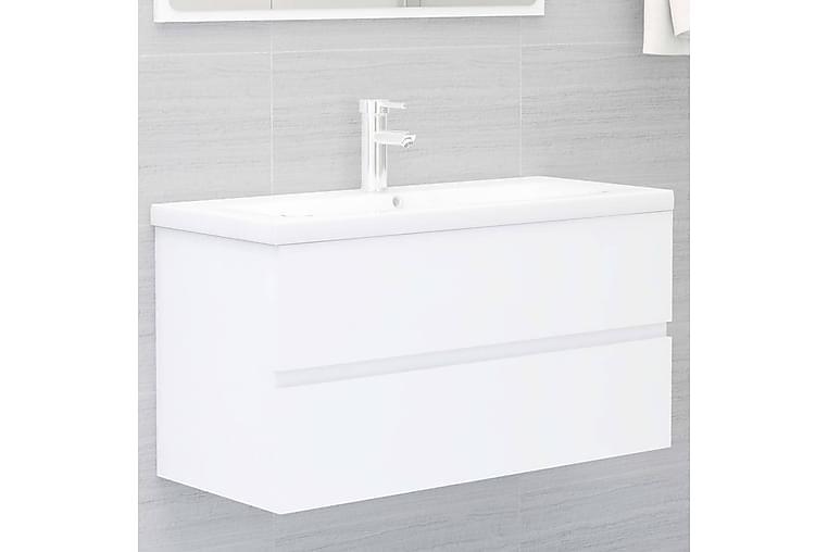 Allaskaappi valkoinen 90x38,5x45 cm lastulevy - Kylpyhuone - Kylpyhuonekalusteet - Allaskaapit