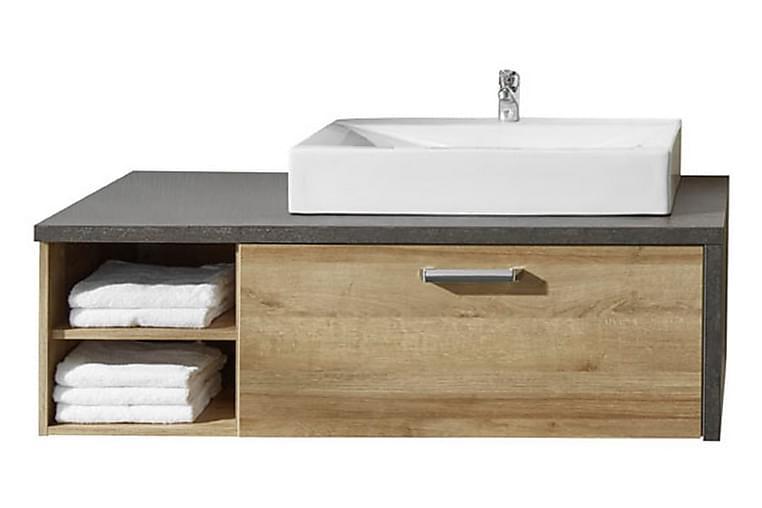Pesuallaskaappi Bryanna altaalla 123 cm - Tumma tammi/sementinharmaa - Kylpyhuone - Kylpyhuonekalusteet - Allaskaapit