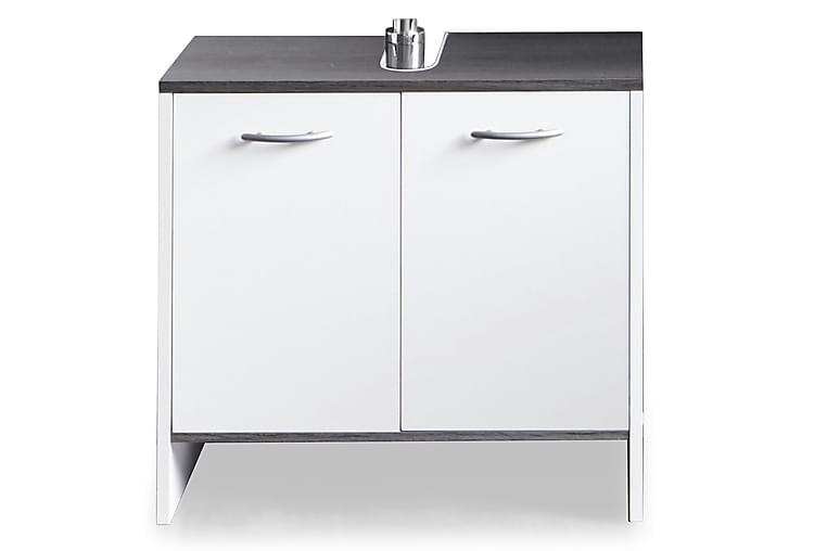 Pesuallaskaappi Mirka 60 cm 2 ovea - Valkoinen/hopeanharmaa - Kylpyhuone - Kylpyhuonekalusteet - Allaskaapit